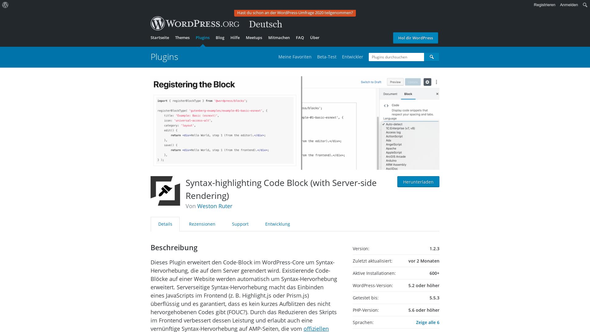 https://de.wordpress.org/plugins/syntax-highlighting-code-block/