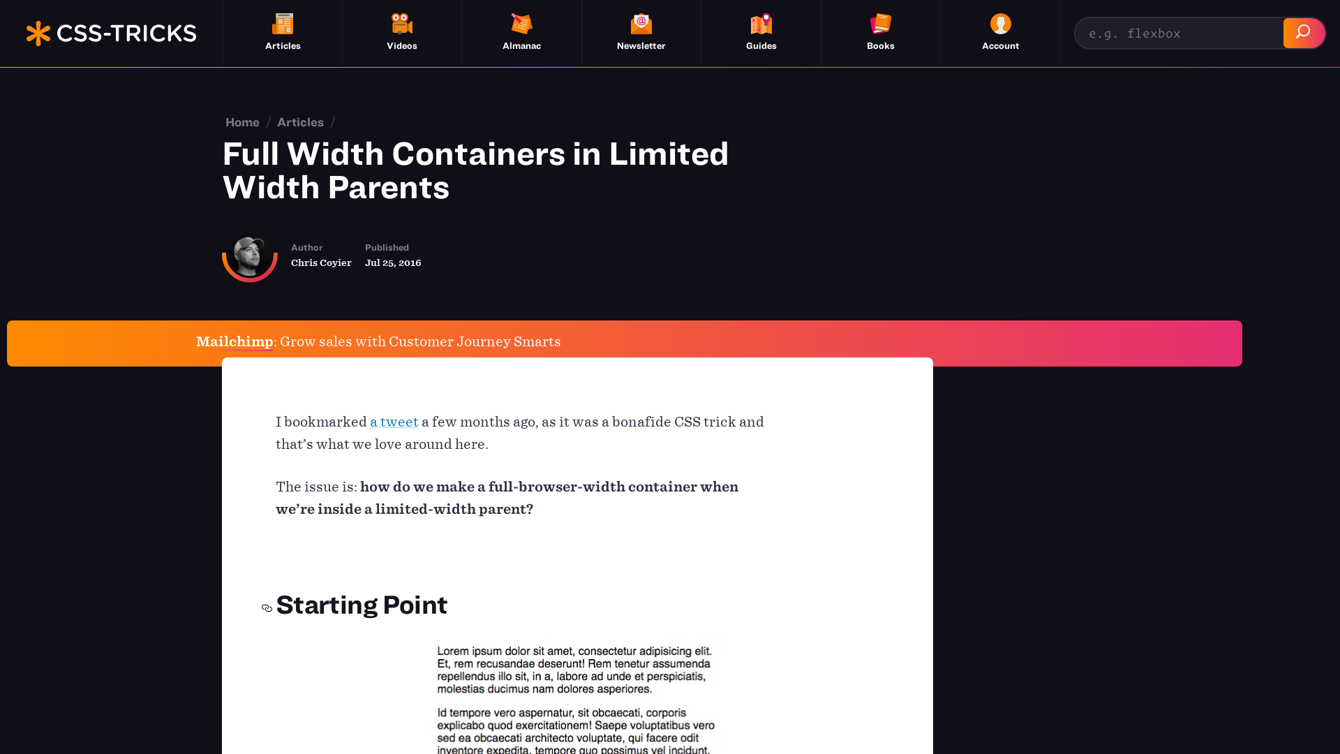https://css-tricks.com/full-width-containers-limited-width-parents/